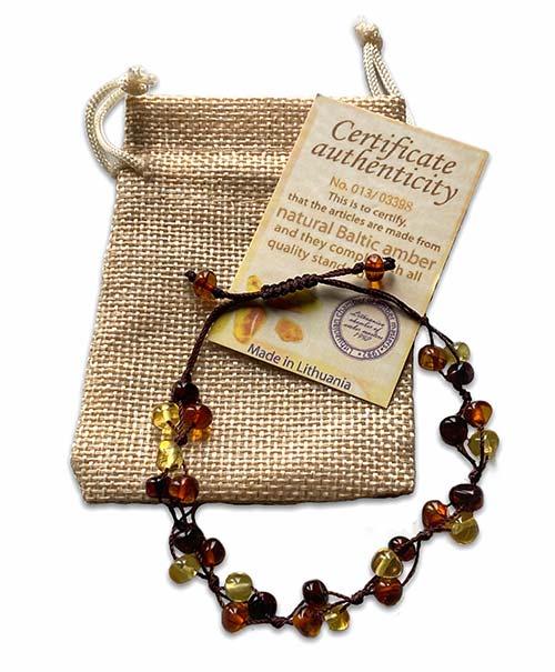 oval ambers set in a silver bracelet
