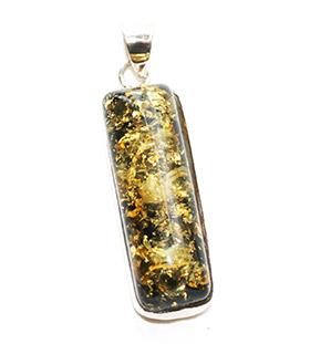 long and slim green amber pendant
