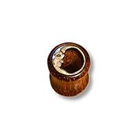 dark wooden 8mm tunnel earrings witha silver moon