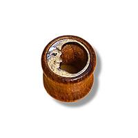 dark wooden 10mm tunnel earrings witha silver moon