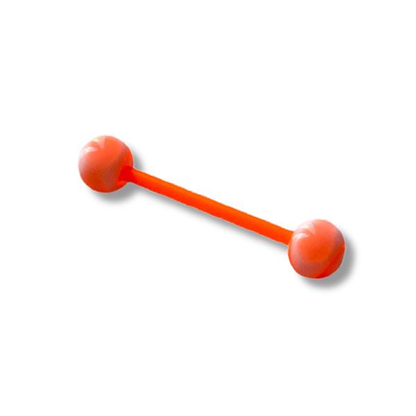 A flexible orange steel tongue bar