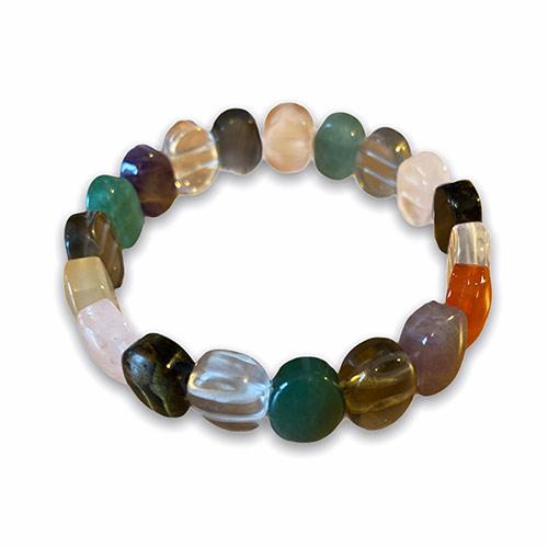 oval cut gemstones on elastic bangle