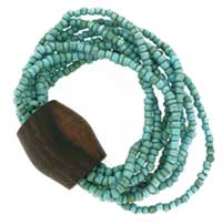 turquoise on wood bangle