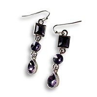 dangle earrings with 3 different shapes of amethyst