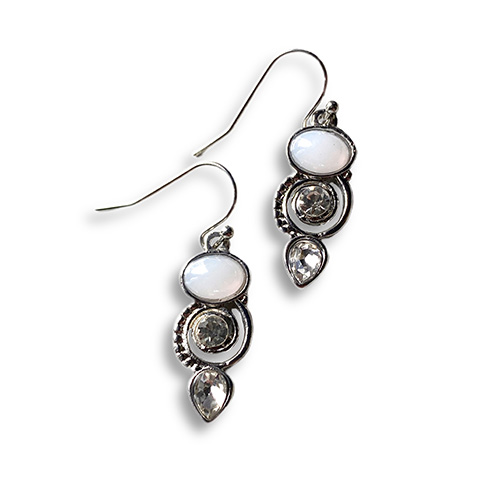 earrings with moonstone and white crystal