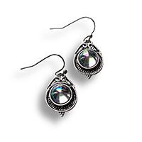dangle earrings with a mystic quartz and a celtic setting