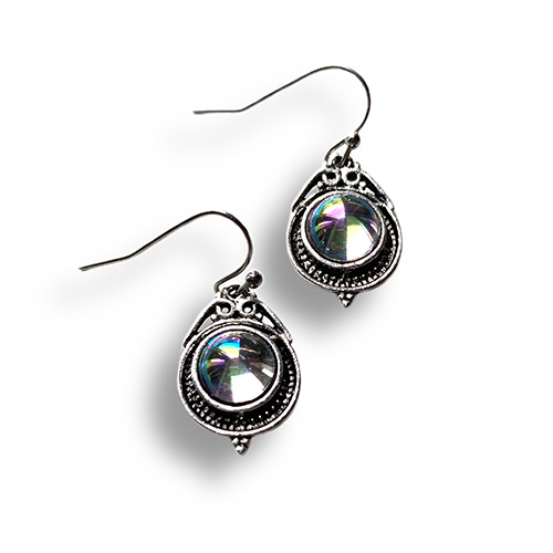 earrings with a round mystic quartz