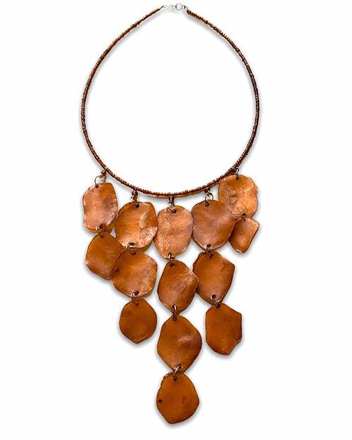 a choker of light brown shells