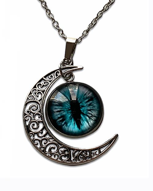 necklace with a pendant of a dragon or cats green eye