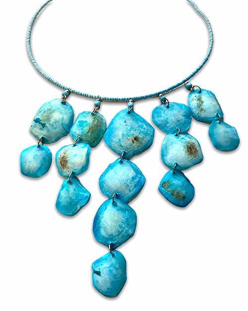 a choker of light-blue shells