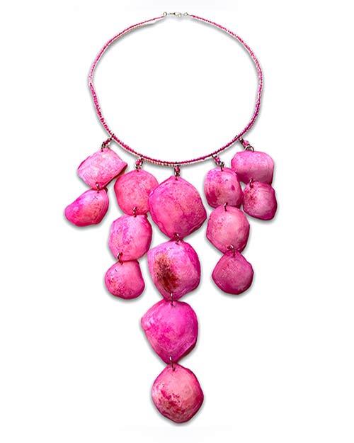 a choker of pink shells