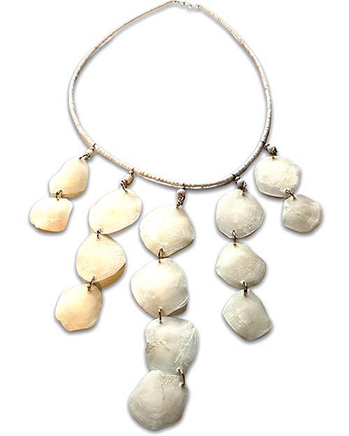 a choker of white shells