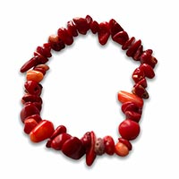 a bracelet made up from red agate stones