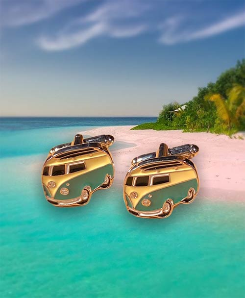 stainless steel cufflinks with yellow and green campervans