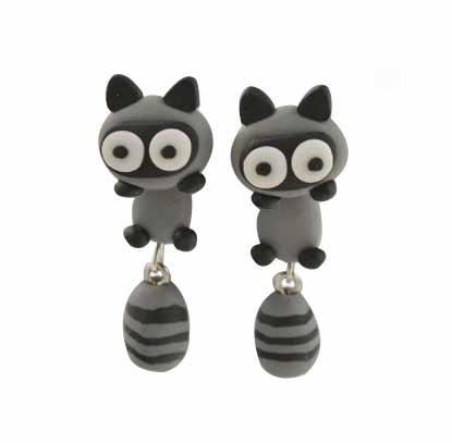 raccoon stud earrings