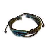 leather bracelet with green and black colors