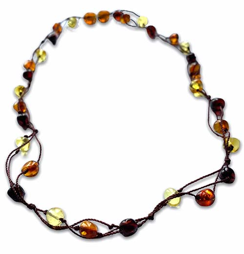 theree strands of multi-colour ambers woven toegther to make this necklace