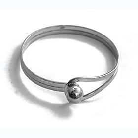Plain Silver Bangle with Braiding
