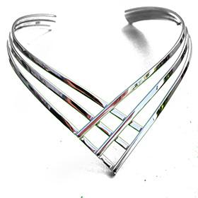 Plain Silver Bangle with pressed segments