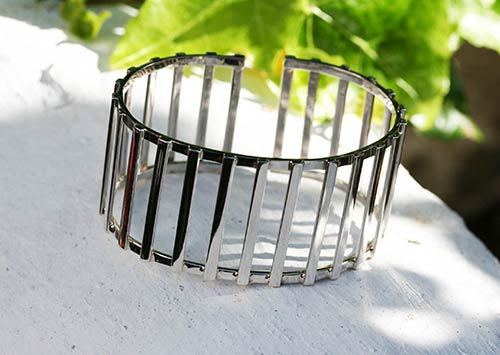 solid silver cage bangle