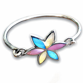 silver flower bangle with mother of pearl