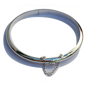Plain Silver Bangle with safety chain