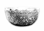 silver bowl with embossed history