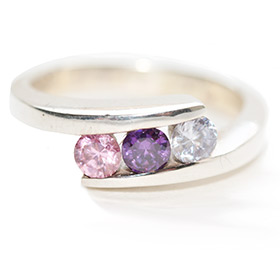 amethyst and rose-quartz on silver ring