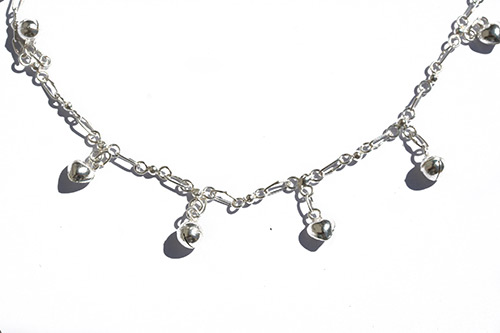 silver ankle chain with balls