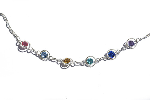 silver ankle chain wuth gemstone crystals