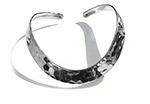 beaten silver cuff bangle