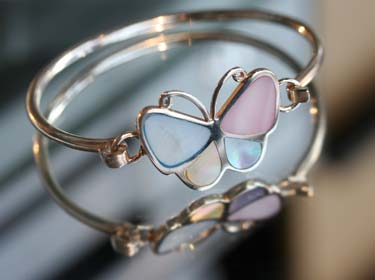 butterfly mother of pearl bangle