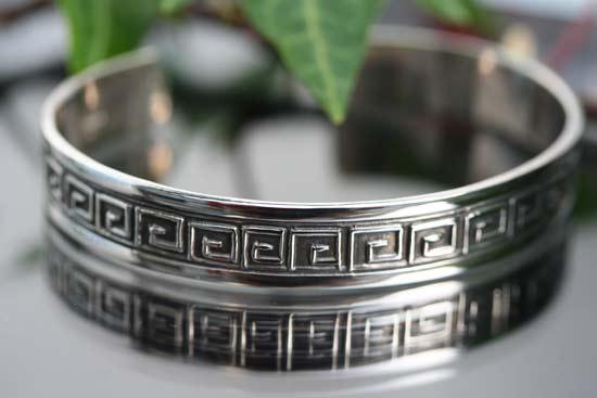 silver cuff bangle in a classical design