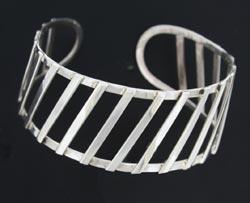 silver cuff bangle with bars