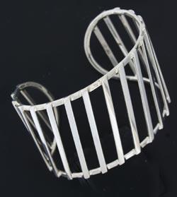 silver bangle with diagonal bars