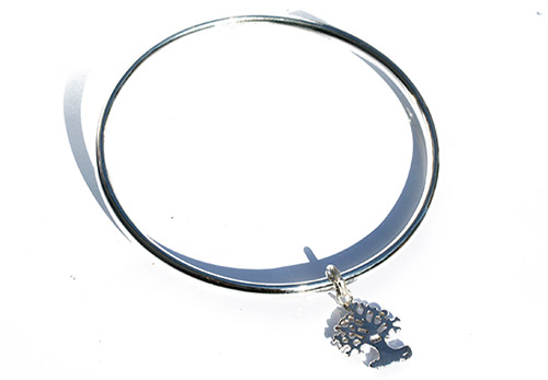 silver bangle with tree of life pendant