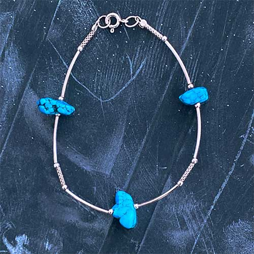 silver Bangle with three turquoise stones