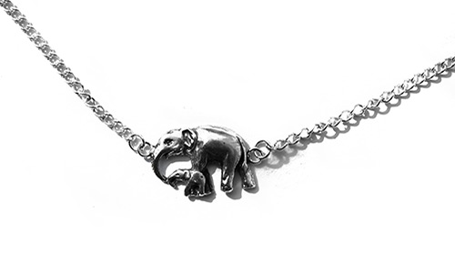 silver bracelet with mother and baby elephant