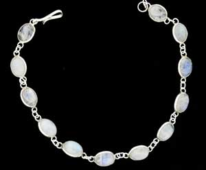 small oval moonstones on silver bracelet