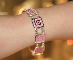 pink mosiac bracelet on wrist