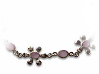 silver bracelet with flower shaped mother of pearl