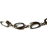 silver bracelet with silver oval shapes