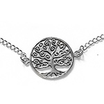 silver bracelet with a tree pendant
