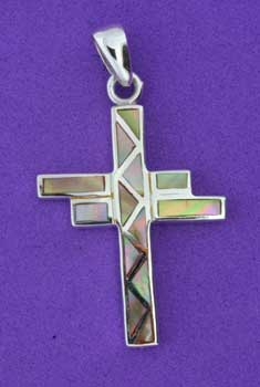 shell inlay silver cross