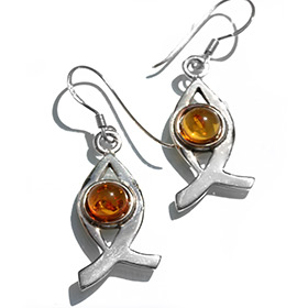 Fish Shaped Silver Earrings with Amber