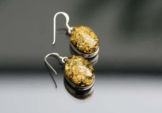 oval cut amber earrings
