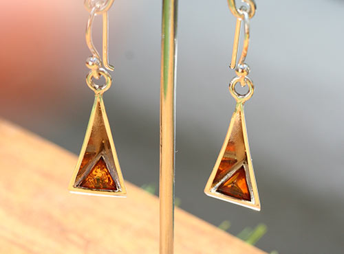 silver pyramid earrings with amber