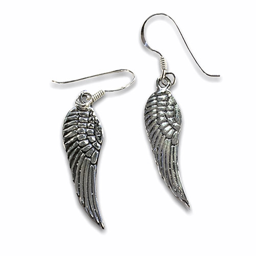 silver angel wing earrings