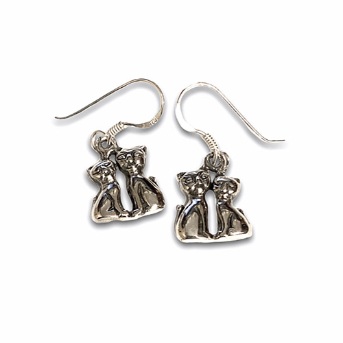 a pair of cats siver earrings