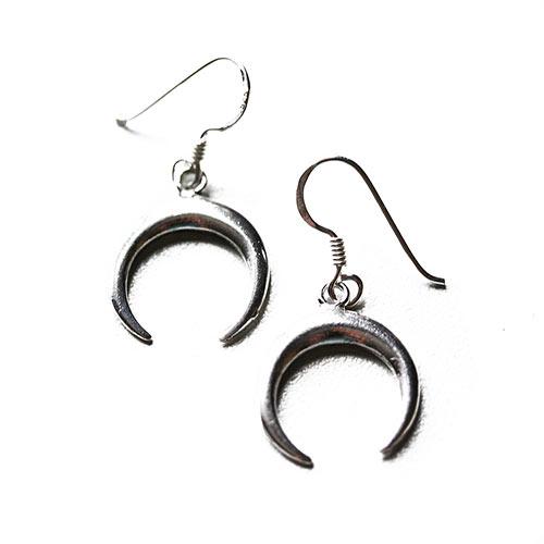 silver earrings shaped like crescent moon